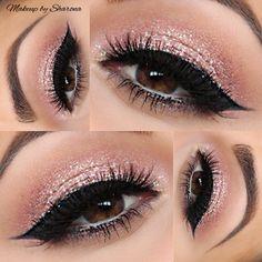 Pretty, fun makeup pink glitter eye shadow thick black liner