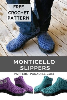 Free Crochet Pattern: Monticello Slippers - My Pin Archive Monticello Slippers - free womens / mens crochet pattern by Maria Bittner at Pattern Paradise. These crocheted slippers are easy to make and so comfortable to wear. Easy Crochet Slippers, Crochet Slipper Boots, Free Crochet Slipper Patterns, Men's Slippers, Crochet Boots Pattern, Bedroom Slippers, Felted Slippers, Slipper Socks, Crochet Beanie