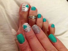 Teal, White and Silver Nails with Stripes and Hearts