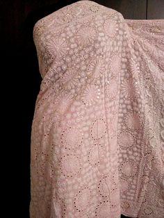 Light Pink Pure Georgette Chikankari Saree with Heavy Mukaish/Badla Work