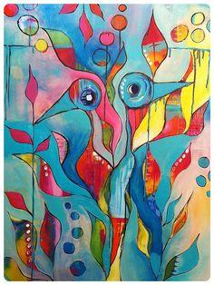Alweer een hele tijd geleden kocht ik het boek Brave Intuitive Painting van Flora Bowley (ook hier bij bol.com , helaas zonder afbeelding ....