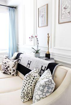 Hermes Avalon blanket, black white decor, living room design