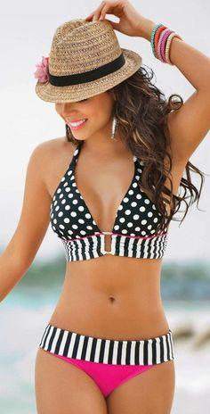 Black-White Polka Dot 2-in-1 Pointed Neck Hung Bra Cute Swimwear - Swimwear - Tops