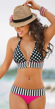 Black-White Polka Dot 2-in-1 Pointed Neck Hung Bra Cute Swimwear - Swimwear - Tops