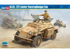 The Hobby Boss Sd.Kfz.222 Leichter Panzerspahwagen 2cm in 1/35 scale from the plastic armoured car model range accurately recreates the real life German armoured car used during World War II. This plastic armoured car kit requires paint and glue to complete.