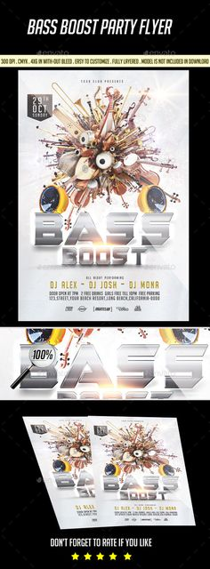 Bass Boost Party #Flyer - Clubs & Parties Events Download here:  https://graphicriver.net/item/bass-boost-party-flyer/19754308?ref=alena994
