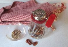 Vintage Red And Clear Glass Nut Chopper by MagellansBellyStudio