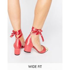 ASOS SHOW TIME Wide Fit Ribbon Lace Up Heels (165 BRL) ❤ liked on Polyvore featuring shoes, pumps, pink, ribbon tie shoes, block heel pumps, block heel court shoes, asos shoes and wide pumps