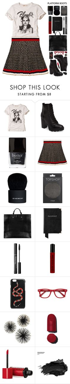 """G.N.O."" by sierrrrrra ❤ liked on Polyvore featuring Hollister Co., Steve Madden, Butter London, Gucci, Givenchy, Topshop, Clare V., Aspinal of London, NYX and Ace"
