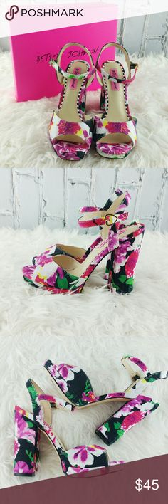 "SALE Betsey Johnson ""Isla"" Floral Chunky Heels Adorable NWT Betsey Johnson ""Isla"" Floral Chunky 4 1/2"" Heels Betsey Johnson Shoes Heels"