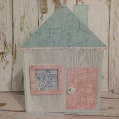 Christmas Cottage Shaker Card by Greeting Grub Cards, made using Kaisercraft Silver Bells collection
