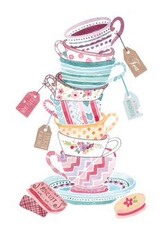A lovely illustration of darling teacups!