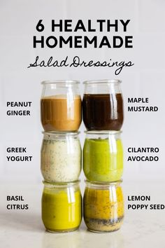 Simple healthy homemade salad dressing recipes for everyone. From a basic maple mustard dressing to special lemon poppy seed or basil citrus dressing. All dressings are made with 100% clean ingredients. Salad Dressing Recipes, Salad Dressings, Mustard Dressing, Healthy Salads, Basil, Poppy, Lemon, Homemade, Simple