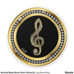 Revised Bling Music Note Cabinet Knobs Ceramic Knob - http://www.zazzle.com/revised_bling_music_note_cabinet_knobs_ceramic_pull-256179842190181682