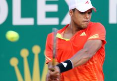 France's Jo-Wilfried Tsonga hits a return to France's Gilles Simon during their Monte Carlo ATP Masters Series tournament tennis, on April 20, 2012 in Monaco.