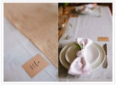 burlap table cloth, white napkins and simple place cards ( love the writing, and that name)