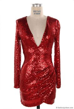 Sequin Long Sleeve Low Cut V-Neck Mini Dress-Red - Perfect for the holidays and New Year's Eve!