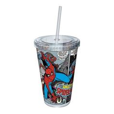 Marvel SpiderMan Comic Strip Acrylic 16 oz. Travel Cup