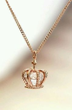 Crown pendant necklace with enclosed Swarovski diamond cut crystal. Available in… - Diamond Jewelry Stylish Jewelry, Cute Jewelry, Gold Jewelry, Jewelery, Jewelry Accessories, Jewelry Necklaces, Fashion Jewelry, Jewelry Design, Pretty Necklaces