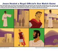 Bible Matching Game Activity - Jesus Healed a Royal Official's Son