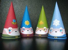 4 Seasons Cone Gnome Set of 4 Paper Toys by Cutesypoo on Etsy, $1.99