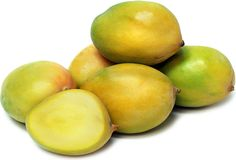 Keitt mangoes are oblong in shape with a pale to dark green skin, though they occasionally have a yellow blush. The color can be misleading, and the only real way to determine whether these large mangoes are ripe is by touch. The skin should give slightly to the touch, and even then the mangoes could rest for a few more days. Keitt mangoes are fiber-free unlike most mangoes, and with a thin seed it allows for a greater amount of its orange-yellow flesh. Keitt mangoes have a tangy sweet…