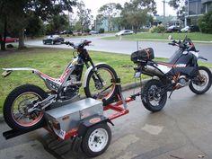 Motorcycle Trailer, Bike Trailer, Trailer Hitch, Moto Trial, Trial Bike, Youth Dirt Bikes, Ktm Adventure, Klr 650, Custom Bikes