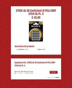 STOCK da 50 Confezioni di PILA SONY STILO da Pz..  4