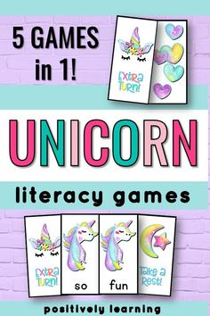 Who wouldn't be excited by these unicorn game cards? Reinforce phonics, sight words, AND alphabet/sounds with this huge deck of Blast cards! There are FIVE games in ONE for easy differentiation. I use these in small groups and word work centers. Reading Intervention, Reading Skills, Guided Reading, Teaching Reading, Cvce Words, Phonics Words, Sight Words, Literacy Games, Literacy Centers
