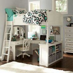 One lofted bunk over a desk and work space.  Functional and cute for kids.