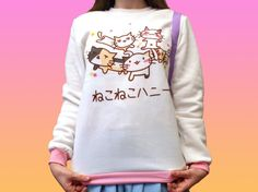 KITTY pull / / Kawaii Pastel Goth chat rose par UnicornDreamland