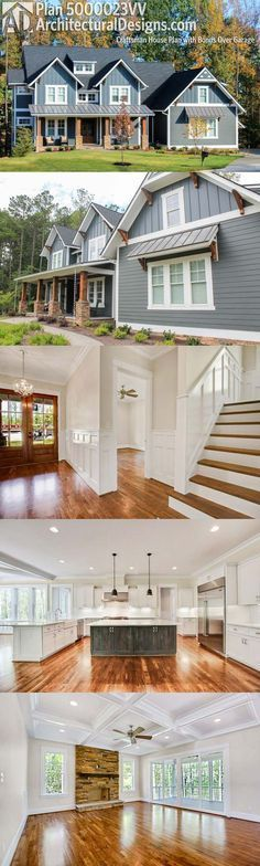 Architectural Designs Exclusive House Plan 500023VV is a modern Craftsman home giving you 4 to 5 beds and over 4,200 square feet of heated living space. Beautiful inside and out. Ready when you are. Where do YOU want to build?