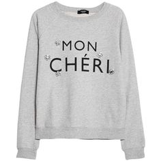 Mango Embellishment Text Sweatshirt, Light Pastel Grey (25 CAD) ❤ liked on Polyvore featuring tops, hoodies, sweatshirts, sweaters, shirts, outerwear, grey long sleeve shirt, raglan sleeve sweatshirt, lightweight long sleeve shirt and cotton shirts