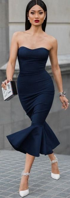 Micah Gianneli — Love this navy dress I custom designed via... #micah