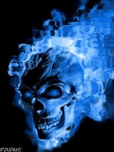 Animación skull con fuego azul para celular