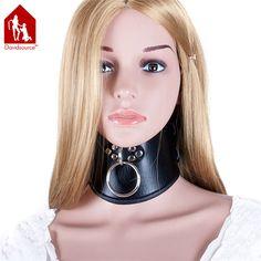 Davidsource 520*100mm de cuero negro collar de la postura con anillo de tiro ajustable cinturón esclavo fetish bondage correa para el cuello del sexo juguete
