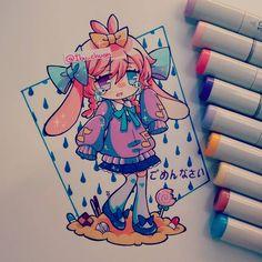 """COPIC MARKER Dibuje esto mientras escuchaba la canción """"kanashimi tachi wo dakishimete"""" del álbum de One punch man, tiene una hermosa letra media corta venas D': la amo Y mi pequeña Reverie (Rie) era perfecta para esa canción. #originalcharacter #oc #traditional #kawaii #moe #cute #sadgirl #lagrimas #tears #usamimi #kemonomimi #usagi #candy #dulces #copic #rain #gomen #anime #instradraw #animestyle"""