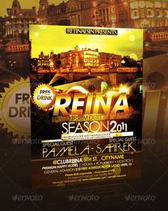 Reina Club Flyer #GraphicRiver This club flyer template is 8.5 by 11 in (8.75 in by 11.25 in with bleeds) and is ready for print, because it's in CMYK at 300 dpi. The psd file can be edited in Adobe Photoshop, and to be able to change the text. Can be used as Poster, Flyer, E-Flyer template for parties and any entertainment events. Layered Photoshop file organized in folders with editable text and flexible layer styles. Easy to edit, replace text, add images, logos, etc. Help file included…
