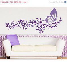 Butterflight Flight flower wall decal, sticker, mural, vinyl wall art