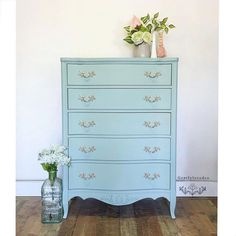 Our Seaside color is an all around favorite! It's a magical green-blue that looks good in all settings and on all styles of furniture. Pick some up at your local MudPaint retailer (link in bio!) this Small Business Saturday and see for yourself! . . Dresser by: @gentlylovedco Dresser Inspiration, Green Painted Furniture, French Provincial Dresser, Vintage Green, Furniture Makeover, Shabby Chic, Living Room, Seaside, Painting