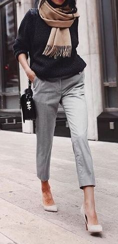 What to wear to the office? Casual grey pants + black knits