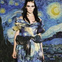 Starty Night by Van Gogh and Rodarte @officialrodarte 💙 #artmeetsfashion  • Instagram : Mode.Arte • Facebook Mode.Arte • Tumblr : modearte.tumblr.com © Marion Trumier