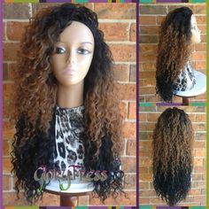 ON SALE Long Kinky Curly Half Wig, Ombre Wig, Long Beach Curly Afro... ($59) ❤ liked on Polyvore