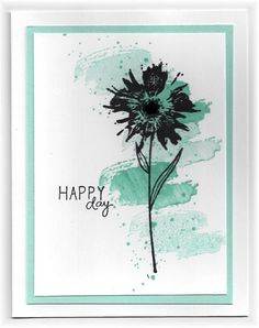 The card - flower and background are from SU. I used a background grunge stamp and stamped it twice without re-inking to get the dark a...