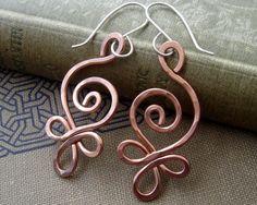 Celtic Budding Spiral Copper Earrings