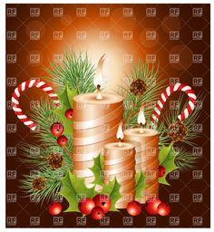 Vector Christmas Gold Candles | Christmas candles with holly and candy canes, download royalty-free ... Free Vector Clipart, Free Vector Files, Clipart Design, Christmas Candles, Gold Christmas, Merry Christmas, Vector Christmas, Gold Candles, Candy Canes