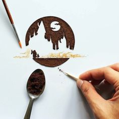 Beautiful Illustrations Made With Coffee And Dried Leaves - UltraLinx