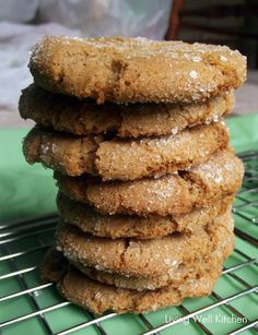 Whole Wheat, lower sugar, no molasses gingersnaps from Living Well Kitchen #cookie #Christmas