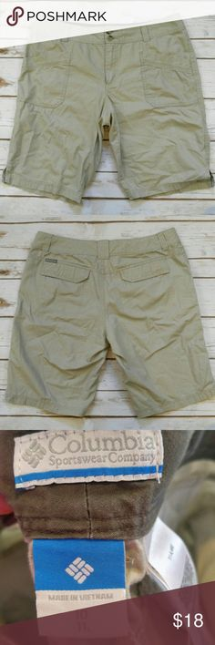 """Columbia Khaki Bermuda Shorts Columbia Khaki Bermuda Shorts  Size 10 in good used condition. 17"""" waist 11"""" inseam. Please let me know if you have any questions. I ship the same day as long as the post office is still open. Have a great day, thanks for checking out my closet and happy poshing! Columbia Shorts Bermudas"""