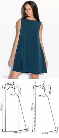 Шитье ✂ Выкройки.Платье силуэта 'трапеция', выполненное из костюмной ткани. Застежка сзади на молнию. выкройка